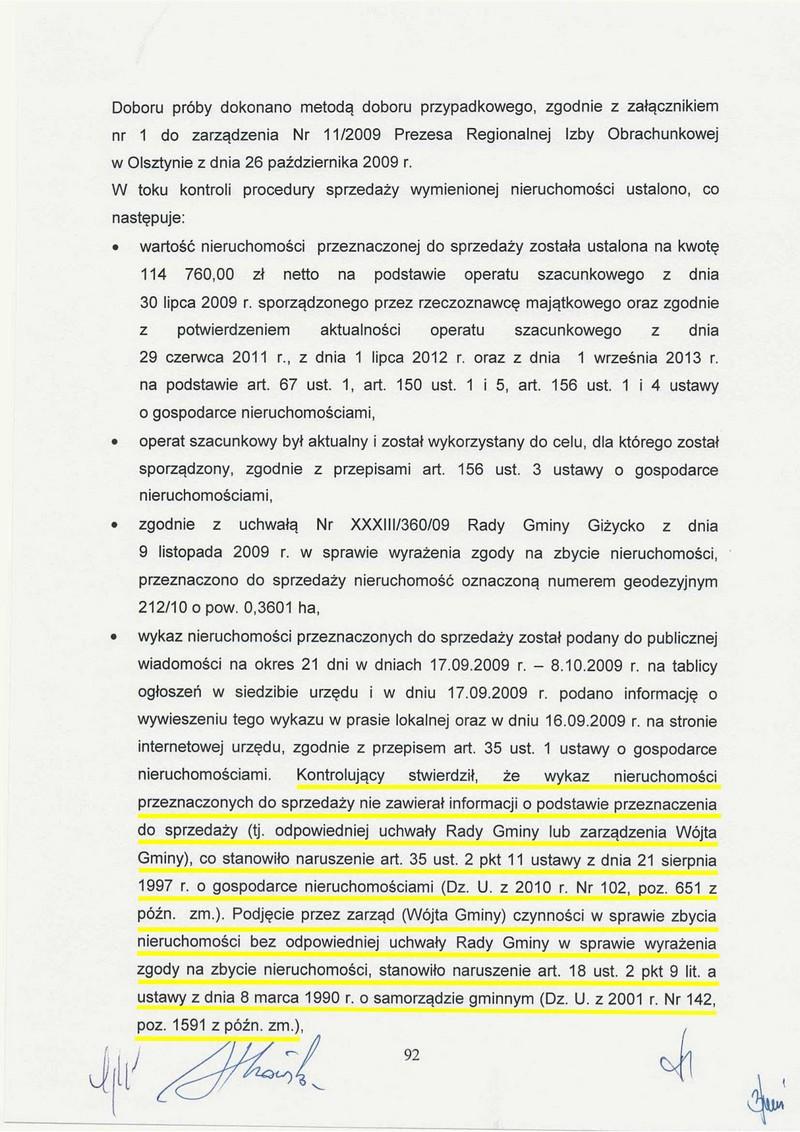 Protokół kontroli RIO w Gminie Giżycko
