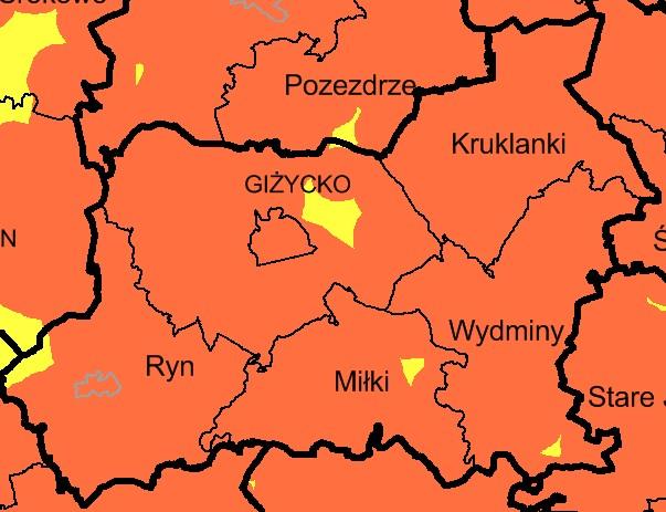 Mapa wiatraków w powiecie giżyckim