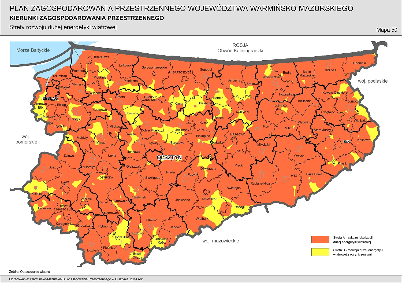 mapa wiatraków w województwie warmińsko-mazurskim